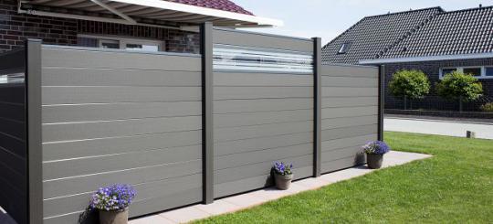 bpc steckzaun anthrazit 180 x 180 x 1 9cm mit 30cm glaseinsatz. Black Bedroom Furniture Sets. Home Design Ideas