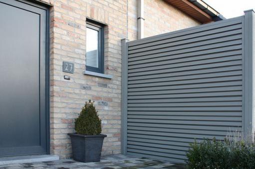 gartenzaunelement wpc 180 x 180 x 4cm in stone grey. Black Bedroom Furniture Sets. Home Design Ideas
