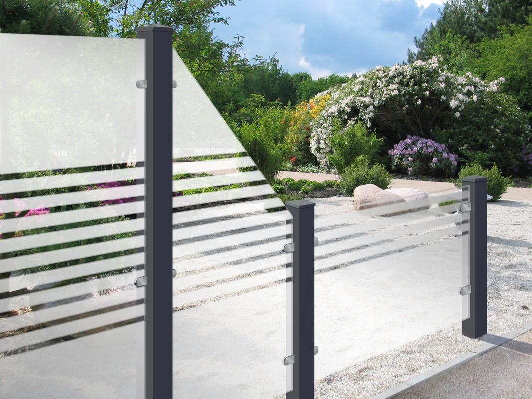 Sichtschutz Aus Glas 90 X 180 X 0,8cm Mit Design-Streifen